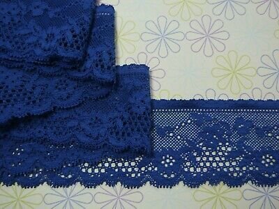 """5 METRES Deep Royal Blue Delicate Stretch Lace Trim 2""""/5.5cm Sewing TOP SELLER"""