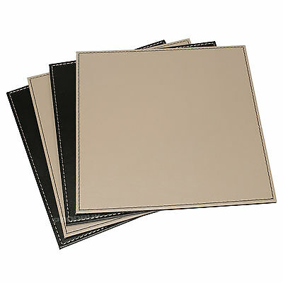 Set of 4 Square Faux Leather Reversible Placemats Black Taupe Table Mats Set