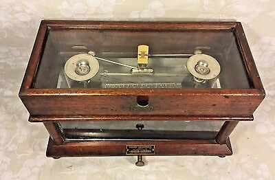 Antique Henry Troemner Scale Flip Lid Brass Plate All Wood and Glass in Place