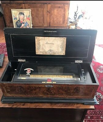 Antique Late 19th C Rare Swiss Cylinder Giant Inlaid Rose Wood Music Box By JB