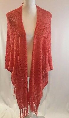 Coldwater Creek Women's Knit Wrap Shawl Open Poncho with Fringe OSFM CORAL