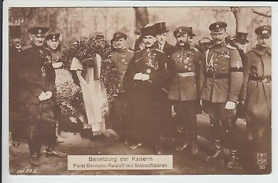 Russian Prince Bermondt-Avalov & staff at funeral of Empress in Potsdam 1921