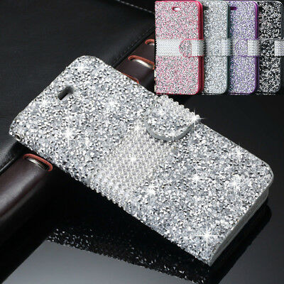 Bling Glitter Crystal Diamond Leather Flip Magnetic Case Cover For iPhone XS 6 7