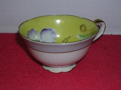 Hand Painted China Tea Cup Yellow Purple Flower Occupied Japan