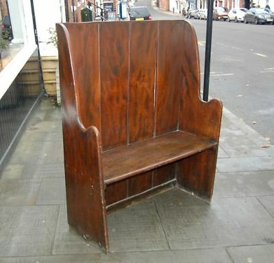 Antique Late C18th Plank Settle in Elm