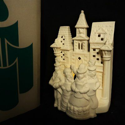 PARTYLITE Bisque Porcelain VILLAGE CAROLERS #P0204 Christmas Tealight holder