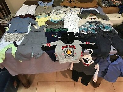 Lot Of 3-6M And 6-9M Baby Boys Assorted Clothing/seasons 46 Pieces Name Brands