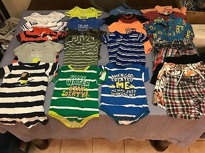 Lot Of 12M-18M Baby Boys Assorted Summer Clothing 23 Pieces Name Brands