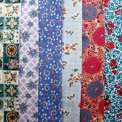 Lot of 6 Vintage Floral Print Cotton Fabric Pieces