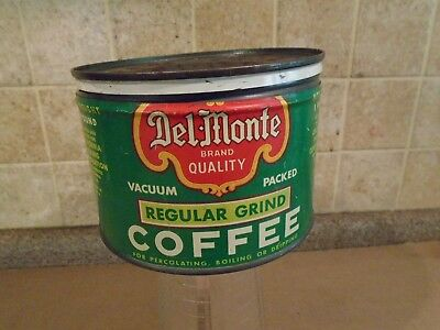 Vintage DEL MONTE Coffee Tin Can One pound with lid ~Graphics ~SAN FRANSISCO CA.