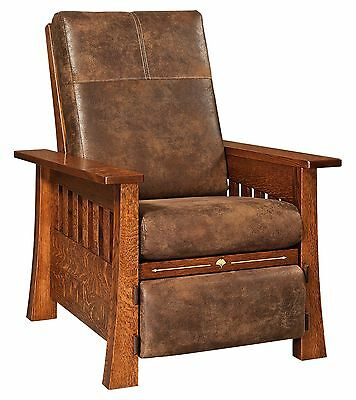 Amish Mission Arts & Crafts Mesa Recliner Accent Chair Solid Wood Upholstery