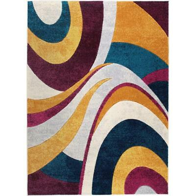 Indoor Area Rug Stain Resistant Home Dynamix Tribeca Multi Purple 5 ft. x 7 ft