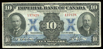 1923 Imperial Bank of Canada $10 Chartered Banknote S/N: 137828