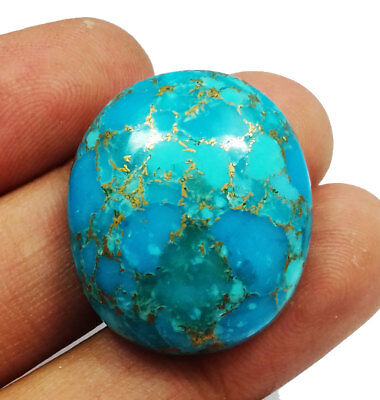 43.80 Ct Natural Oval Shape Blue Copper Turquoise Loose Gemstone Cabochon