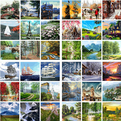 Oil Painting On Canvas Art Home Decor DIY Scenery Paint By Number Kit Acrylic