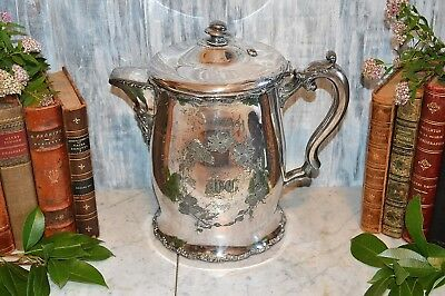 Antique F B Rogers Quadruple Silverplate Large Water Ice Pitcher Ceramic Lined