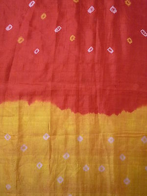 Vtg Silk Sari Saree Fabric Bandhani Red Orange Yellow Pink Dots Spots Dyed India