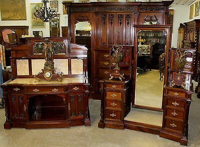 Antique Carved English Edwardian Solid Mahogany 3 Piece Bedroom Set W/ Bed C1890