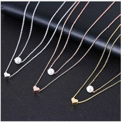 925 Sterling Silver Adjustable Two Layer Heart Pearl Pendant Necklace Women PE16