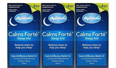 Pack Of 3 Hyland's Calms Forte Homeopathic Sleep Aid Tablets 32 Caplets Each Box