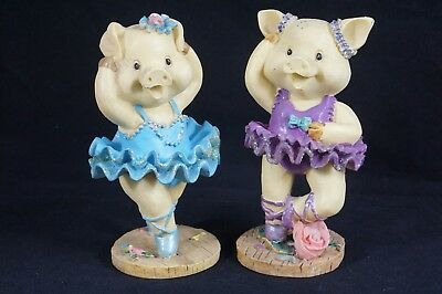 Two Pig Ballerina Figurines Pink and Blue Outfits Resin Ballet
