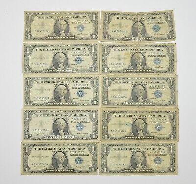 Lot (10) 1957 or 1935 $1.00 Silver Blue Seal Certificate Notes Collection *439