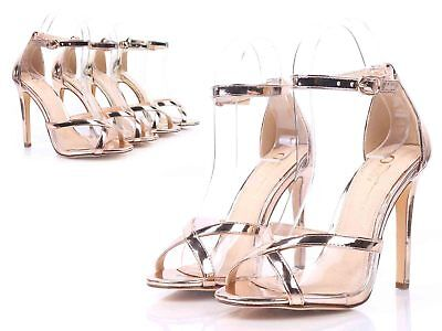 """0fe07bfb30a0 Rose Gold Open Toe Strappy Ankle Strap Prom Womens 4.5"""" Stilettos Heels  Size 7"""