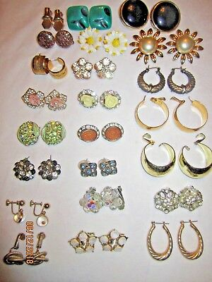 Antique Vintage Now Estate Earring Lot of 20+ Pairs Clip On Pierced Screw Back