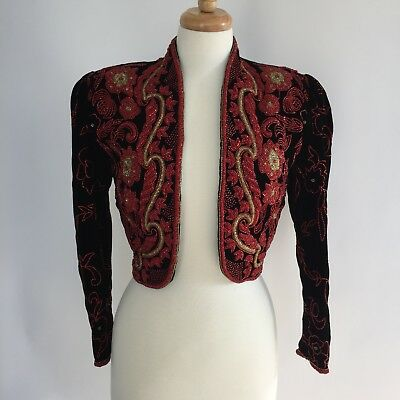Vintage Lillie Rubin Bolero Jacket Large Black Velvet Red Gold Beads Floral