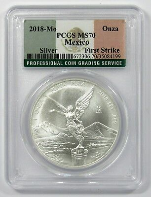 2018 Mexico 1oz Silver Libertad PCGS MS70 First Strike - Flag Label