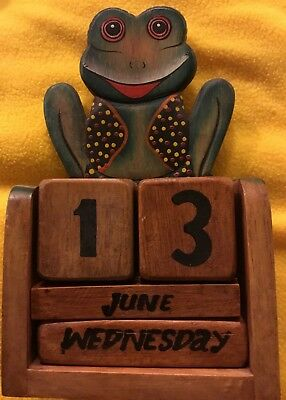 Wooden Unique Frog Perpetual Calendar, Hand Crafted & Painted Made In Indonesia