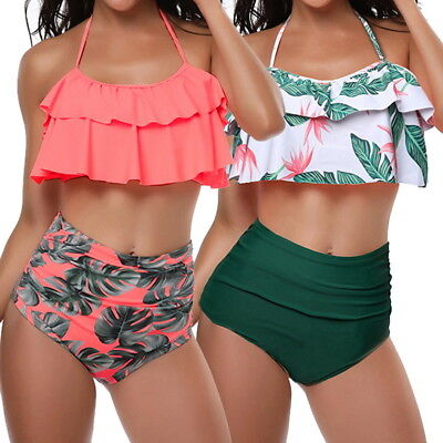 Womens High Waist Ruffles Push-Up Bikini Bra Swimsuit Swimwear Beachwear Suit DS