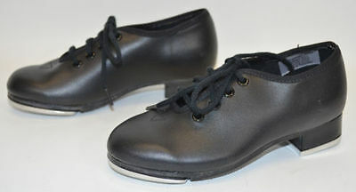 Dance Now Bloch Black Tap Shoes Lace Up Child's Size 8 N Techno Taps NEW NWOB