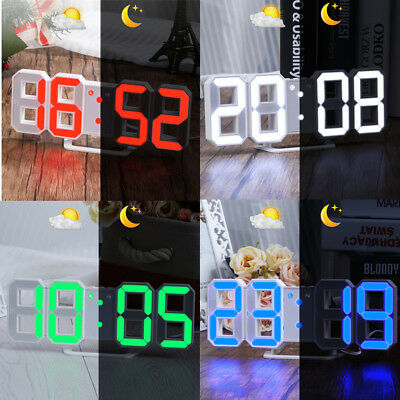 3D LED Digital Wall Clock Desk Alarm Clock With Snooze Function 3 Brightness UK