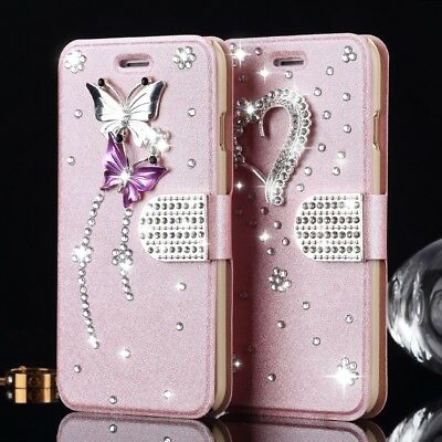 Bling Glitter Diamond Cute Case PU Leather Flip Wallet Cover For Samsung Galaxy
