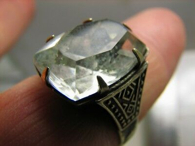 MASSIVE. EXCELLENT AUTHOR'S WORK ! VINTAGE STERLING SILVER RING with STONE !#139