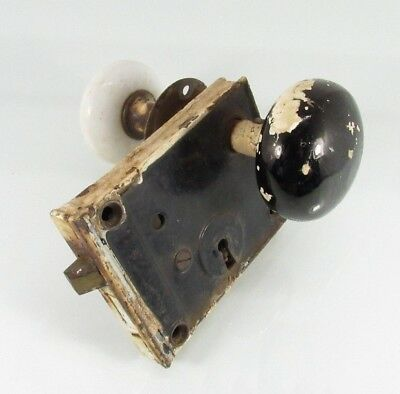 Antique Vintage Ceramic Door Knobs & Old Latch Lock Mechanism