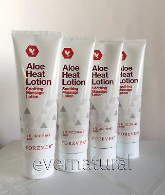 4 tubes Forever Living Aloe Heat Lotion 4 fl.oz (118 ml) ea.