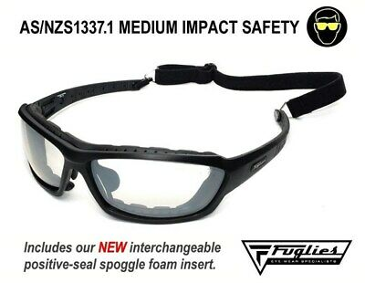 Fuglies RX14 Clear Safety Glasses - AS/NZS1337.1 Foam Backed