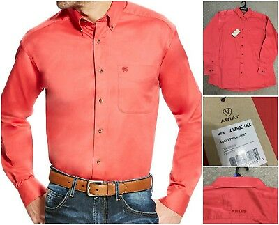 New Ariat mens twill shirt in cranberry, sz X-Large Tall.
