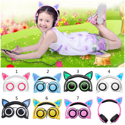 Foldable Wired Cute Cat Over Ear Headphone Girls Kids Cosplay Headset