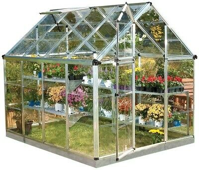 Palram Snap and Grow 6 ft. x 8 ft. Silver Polycarbonate Greenhouse