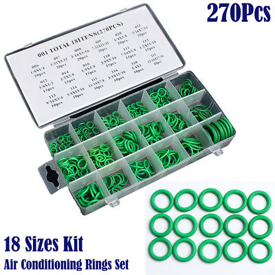 270Pcs 18 Sizes Auto Car A/C System Air Conditioning O Ring Seals Vehicle Kit