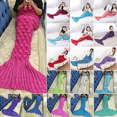 Teen Adult Girl Knitted Crochet Sofa Wrap Costumes Mermaid Tail Quilt Blanket AU