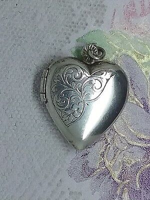 Antique Art Nouveau Sterling Silver Engraved Heart Locket