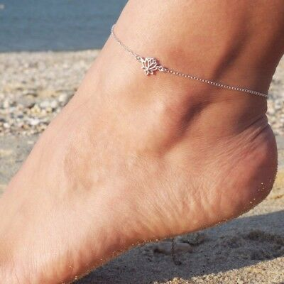 Lady Lotus Flower Charm Barefoot Sandal Beach Anklet Foot Chain Ankle Bracelets