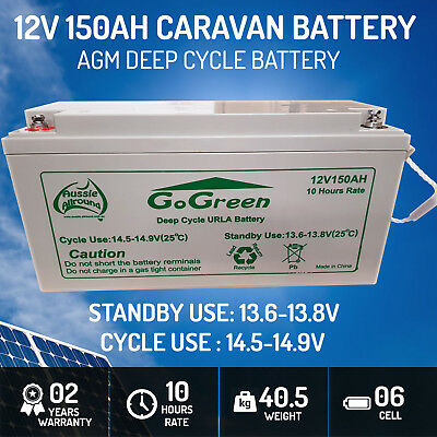 150Ah 12v AGM Sealed Deep Cycle Rechargeable Battery Caravan Marine Solar 40Kg