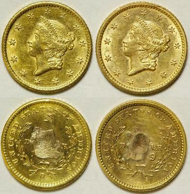 Two Damaged Gold Dollar Coins Lot 1048