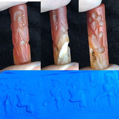 Ancient Agate Stone Well Carved Cylinder Seal