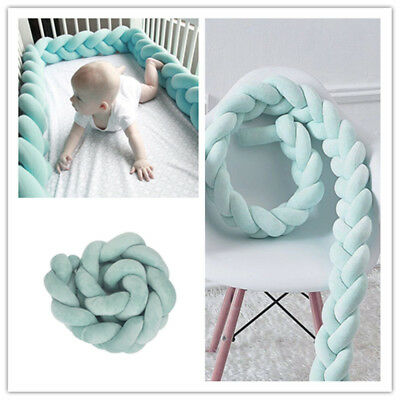 Baby Bed Bedding Cot Plush Bumper Cute Soft Braid Pillow Pad Protector Green 1M